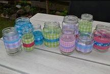 glazen potjes versieren / knutselen