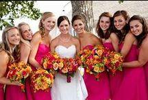 Wedding flowers orange and hot pink