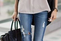 Outfits with Blue Jeans / #Fashion #outfits #bluejeans #jeans
