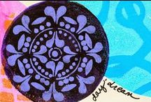 """4"""", 6"""" & 8"""" Round Gelli® Plate Prints! / A collection of prints made using our 4"""", 6"""" and  8"""" Round Gelli Arts® gel printing plate!"""