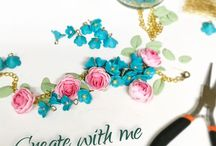Flowers jewelry / Handmade jewelry with polymer clay flowers and fruits