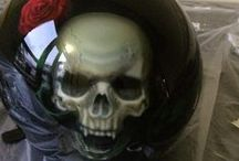 Skull helmet step by stepz / Step by step airbrush skull on a helmet (my first object) @ Atmosfeertje class R. Van der Lei