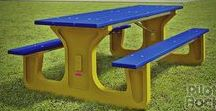 Picnic Tables by Pilot Rock / Inside and outside picnic tables for public parks, campgrounds, swimming pools, rec centers, schools, businesses, malls, patios, cafeterias, and even your backyard.