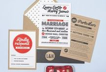 Design suite // Retro Vintage / Bold retro typographical wedding stationery from the Retro Vintage collection by Project Pretty. Matching items include invitations, save the date cards, menus and table plans