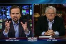 Hagee Hotline / The Hagee Hotline is an online show hosted by John Hagee and/or Matt Hagee each Tuesday at 10:00AM  and 10:00PM CST at getv.org.  Wednesday it is available on demand for 24 hours.  This live and unedited show answers viewer's questions and discusses geopolitcal events.