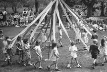 "Holiday - Dance About the Maypole / ""Come lasses & lads, get leave of your dads, And away to the Maypole hie, For every he has got him a she, And the fiddler's standing by."" ~Anonymous.  ""If there's a bustle in your hedgerow don't be alarmed now. It's just a spring clean for the may-queen..."" ~'Stairway To Heaven', lyrics by Led Zeppelin (1971).  ""And the rivulet in the flowery dale 'ill merrily glance & play, For...mother, I'm to be Queen o' the May.""  ~The May Queen ~Alfred Lord Tennyson (1809-1892) Victorian Poet Laureate"