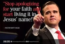 Matt Hagee / Pastor Matt Hagee is the sixth generation in the Hagee family to carry the mantel of Gospel ministry. He serves as the Executive Pastor of the 20,000 member Cornerstone Church in San Antonio, Texas where he partners with his father, founder Pastor John Hagee. Matt Hagee's teachings are telecast over world-wide television and online at GETV.org through John Hagee Ministries. He is fervently committed to preaching all the Gospel to all the world and to every generation.