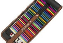 Colored Pencils - JNW Direct's Jazmine Set / This board showcases our deluxe set of 48 colored pencils in a black canvas carrying case with accessories included.        http://www.jnwdirect.com/jazmine-colored-pencil-set/