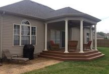 Timbertech Porch and patio / This is a Timbertech porch, with a stamped concrete patio we built here in Lexington, Kentucky in Hamburg.