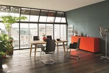 Bright & Shade / We love this season's energetic and eye-popping orange, paired with natural wood and neutral shades of grey