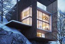 C'est l'hiver! / Comme quoi une maison contemporaine peut à la fois être épurée et chaleureuse!