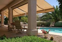 Awnings: Shade your summer /  With summer just around the corner, we're already seeing temperatures rise which means we're all using more energy to keep our homes and commercial spaces comfortable and cool.  According to Energy.Gov, awnings can reduce solar heat gain in the summer by up to 65% on south-facing windows and 77% on west-facing windows. You can use an awning to shade one window or have an awning custom-made to shade the entire side of your house.  Head over to ShadesByDesign.com to check out our variety of custom window treatments like these Bandalux awnings that can serve the dual purpose of decorating your space and saving energy this summer!