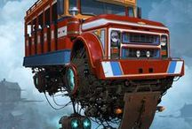 travel miraculously / about all kind of vehicles, in a dream world of inspiration, animation..
