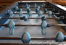 Big Bear Cabins with Game Rooms / Pool tables, Air Hockey, Foosball Tables, Ping Pong, Board games and Darts - basketball hoops and much more!  Ther eis so much fun to be had any many of our cabins! www.DestinationBigBear.com  909-752-0234