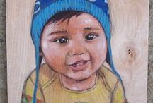 My Children's Portraits painted by hand / These are children I've painted over the years. These hand crafted pieces have been painted for moms and dads as commissions. A few of them were painted as gifts. All of these are painted on wood with acrylic paint and can take anywhere from one hour to four hours depending on the level of detail. Please check out my Etsy page if you are interested in commissioning a portrait. https://www.etsy.com/listing/128576948/childrens-portraits , kids room decor, decor, kids , gift ideas