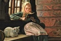 Cats and Books Together / Cats seem to crop up in portraits of readers.