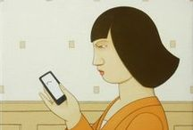 E-Readers in Art and Illustration / E-books and E-readers in art, illustration, cartoons, and memes.