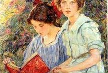 Turn-of-the-Century Female Readers (undated) / Undated works featuring female readers from the Victorian/Edwardian periods. Any help dating these works is appreciated, so please feel free to comment if you are knowledgeable about the painting and/or artist!