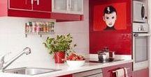 Cuisines en Couleurs : Rouge / Aménagement de cuisine colorée - Optez pour une cuisine moderne, dynamique et sexy avec du rouge !