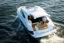 Express Cruiser Boats / Retractable boat shade for cabin express cruisers and pleasure cabin boats. With SureShade, canvas is easily extended from a hardtop or radar arch to provide sun protection in the aft cockpit area of the boat. Featuring boat models like Sea Ray, Cruisers Yachts and more.