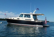 Downeast Style Boats / Downeast style yachts and boats featuring telescoping boat shade systems from SureShade.