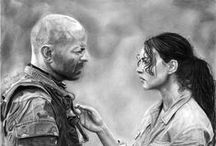 Drawing progress Bruce Willis and Monica Bellucci / film  Tears of Sun - step by step
