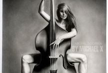 woman and the bass / pencil drawing size A3
