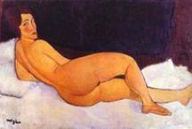 A. Modigliani / Amedeo Clemente Modigliani (12 juillet 1884 à Livourne, Italie - 24 janvier 1920 à Paris) est un peintre et un sculpteur italien rattaché à l'École de Paris. Peintre de figures, nus, portraits, sculpteur, dessinateur. Connu au départ comme un peintre figuratif, il est devenu célèbre par ses peintures et ses sculptures de facture dite moderne où les visages ressemblent à des masques et où les formes sont étirées.