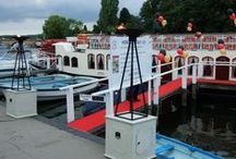 Ideas for Boats as Venues / Ideas and examples of decorations by Stressfreehire for events and weddings at various water based venues across the UK.