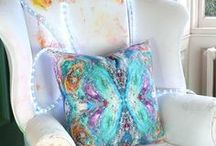 CUSHIONS : BEAUTIFUL by Sonya Rothwell / Sonya Rothwell celestial cushions d'art are rebirths of her otherworldly oil paintings : Featured by the Financial Times 'How To Spend It' Superior Interiors