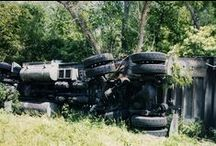 Semi Off Roading / A truck overturned into the woods.