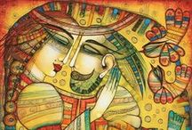 Artes de Albena Vatcheva / Albena é uma jovem artista francêsa de origem búlgara. Sua pintura é  herdeira de tradições diversas. Usando diferentes fontes orientais, em particular da Índia e da Pérsia, ela cria personagens, que exercem um verdadeiro fascínio sobre os olhos, tanto em relação a suas cores brilhantes, como pela magia que transmite. Temos aqui um talento autêntico, especialmente considerando sua recente admissão na esfera da pintura.