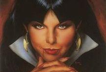 Vampirella / É uma personagem de banda desenhada criada por Forrest J. Ackerman em 1969, e que estreou na antiga editora norte-americana Warren Publishing, nas páginas de Creepy e Eerie e que posteriormente ganhou uma revista própria. Originalmente, ela é uma vampira extraterrestre de um planeta tendo dois sóis chamado Drakulon (ou Draculon).  No Brasil , infelizmente para os fãs , a morena de Drakulon quase nem existiu. As poucas aparições dela iniciaram se em 1973 numa revista da extinta editora Kultus.