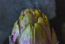 Artichoke  / One of the first foods our Nonna taught me to cook was braised artichokes with celery. Slowly cooked in a bath of water, extra virgin olive oil and garlic, the whole house smelled like exotic incense and when we ate this dish the soft, warm flesh of the artichoke tasted like the first warm days of Spring.