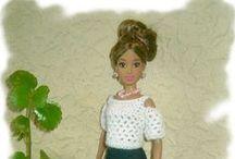 háčkované moderní šaty /  háčkované moderní šaty pro Barbie panenky - crocheted modern dress for Barbie dolls