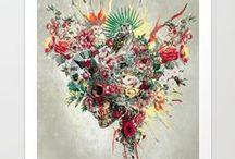 Wall Art / skull, wild, animals, digital, art, collage