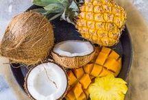 Tropical / White Coconut-Mango Vinegar, Pear Balsamic, Mango Balsamic, White Coconut Vinegar, & White Pineapple Vinegar