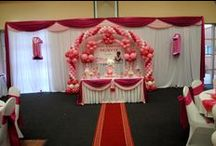 """""""Hello Kitty"""" Theme Decorations / """"Honeycomb Balls, Paper fans and Hello Kitty theme characters"""" gives more richness to the hall - Another superb beautiful color selection"""