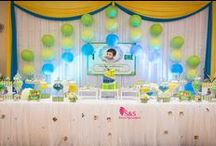 Birthday Decorations / Beautiful Blue, Green and Yellow Lanterns with Biggest Candy bar and our new Table centrepiece tree setup which give more richness to the place