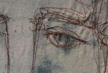 textile art / beautiful collages from textile scraps, fiber art...