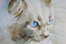 Cat art WATERCOLOR