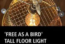 Tall floor light 'Free as a bird' / Tall floor light 'Free as a bird'  This tall free-standing floor light echoes the machine age.  Comes complete with low energy E27 LED Filament warm white bulb Suggested height: 160cm x 80cm leg width (will go higher if required) http://www.itsalight.co.uk #amazing #style #cool #home #loveit
