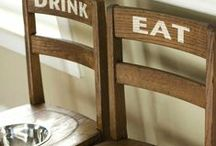 DIY Elevated Feeding Station / Here is what you need for an elevated feeding station: two (or more) old wooden chairs and the following items.