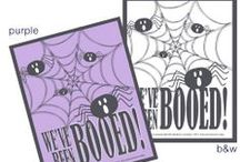 """Halloween - We've Been Boo'd / Halloween is SUPER fun with the Hana Hou Productions FREE printable """"We've Been Booed!"""" signs!  Browse for ideas on what to include in your Boos!"""