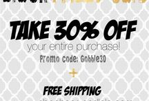 #BlackFriday Sale!!! / Take 30% off your entire purchase!!! Including sale items. Use promo code: Gobble30 at check-out.