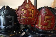 Custom Fire Helmet Shields / Hand made custom fire helmet shields.