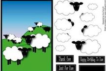 My Sheep Designs / My designs featuring sheep on Craftsuprint. Available as a download, print and post and sometimes as a finished card.