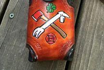 Custom Leather Radio Holders / Hand made leather radio holders