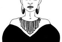 Illustration / Illustrations de visages ou autre utilisé pour mes inspirations de dessins de bijoux au fil des collections. Illustrations qui m'inspire tout simplement.