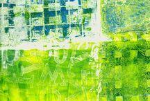 Gel plate mono prints